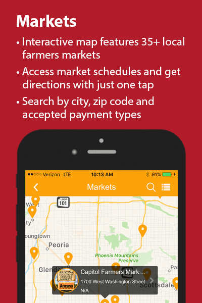 Find farmers markets with the Maricopa Healthy app!